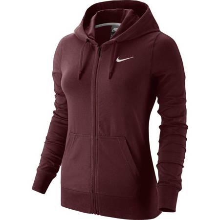 Bluza damska Nike W NSW Hoodie FZ JRSY bordowa 614829 619