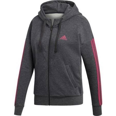 Bluza damska adidas Ess 3S FZ HD szaro różowa DI0127