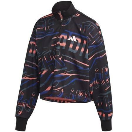 Bluza damska adidas W Ur Halfzip czarno-niebiesko-pomarańczowa FT9731